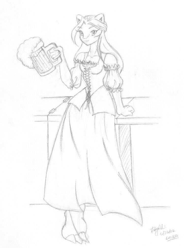 Beer Wench Drawing Tavern Wench